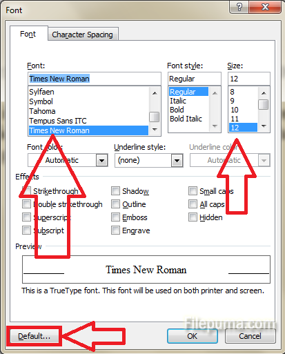 Font and font size 2