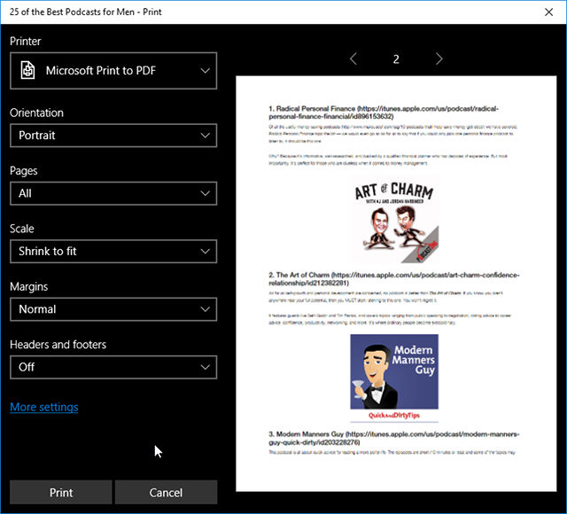 how to print web pages to pdf with microsoft edge
